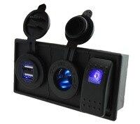 DC12V 24V 4 2A Double USB Port Blue Led Power Socket With Rocker Switch Holder Housing