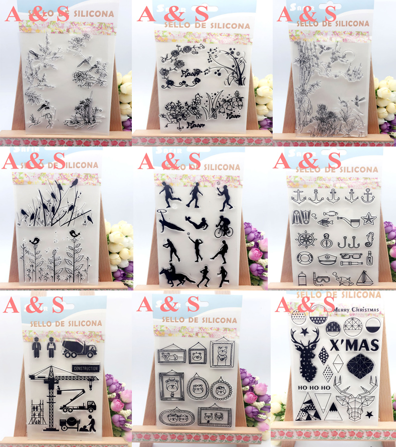 20 Designs Bird Wood Home Sport Sign Christmas Transparent Clear Stamp DIY Silicone Seals Scrapbooking/Card Making/Photo Album