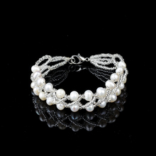Luxury 2017 fashion Charm Bracelet Pearl Jewelry 100%Natural Freshwater Pearl Crystal Balls Drop Water Pearl Bracelet For Women graceful faux gem cross clover water drop charm bracelet for women