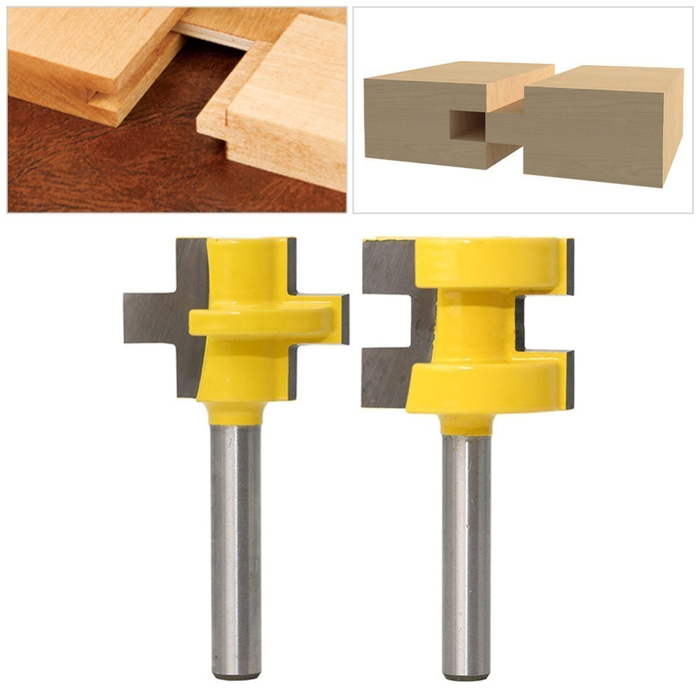 2pcs 1/4 Milling Cutter Kit Shank Tongue & Groove Router Bit Set 3 Teeth T-shape Wood Accessories Woodworking Tools2pcs 1/4 Milling Cutter Kit Shank Tongue & Groove Router Bit Set 3 Teeth T-shape Wood Accessories Woodworking Tools