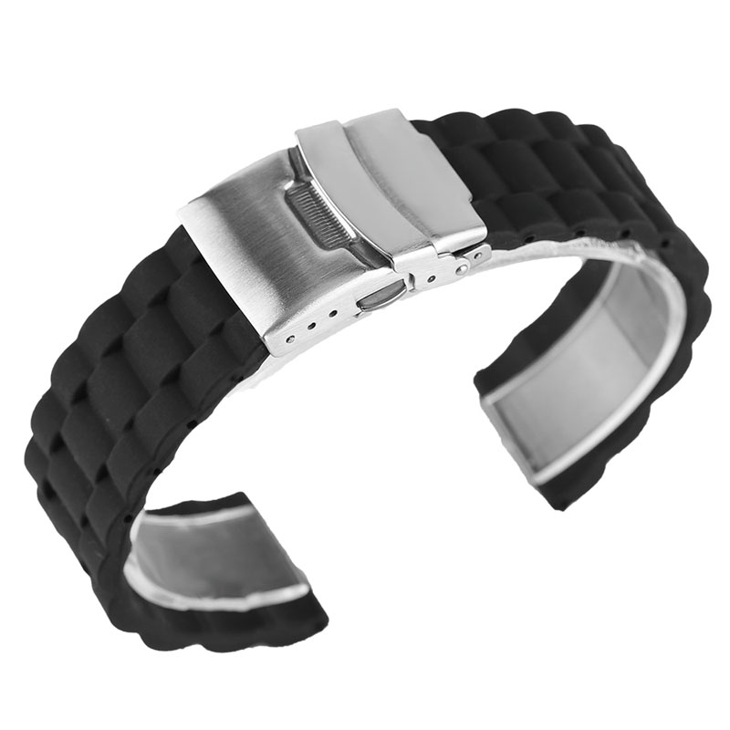 YISUYA Safety Rubber 20/22mm Watchband Waterproof Black Silicone Strap Pin Buckle High Quality Sport Outdoor Bracelet Men Women high quality 25 12mm black brown white rubber watchnand soft strap bracelet butterfly waterproof buckle for men s brand band