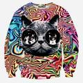 Street wear women men Psychedelic glasses cat printed 3d Hoodies Sweatshirts High quality Pullover sweatshirt tops