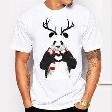 Funny Panda printed t shirt 2016 Fashion Brand T-shirt Hipster Tee Shirt Homme Creative Christmas Panda Short Sleeve Tshirt Men