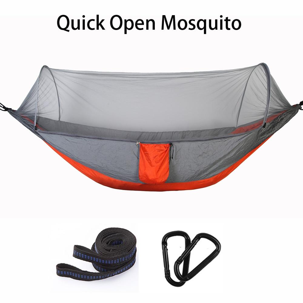 Travel Hiking Trekking Camping Hammocks Automatic Mosquito Net Hamac 250*120 Hanging Sleeping Chair Tent Mats Nylon Swing