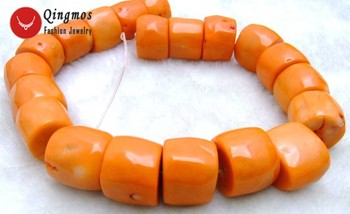 """Qingmos 30-35mm Coral Beads for Jewelry Makjing with High Quality Natural Orange Coral Column Knurl Loose Strand 15""""-los533"""