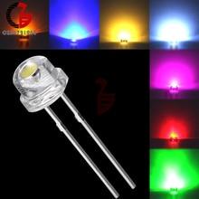 100 шт. 5 мм Диодная соломенная шляпа белый красный зеленый синий желтый фиолетовый Smd Smt Led прозрачная супер яркая широкоугольная лампа 20000mcd лампа
