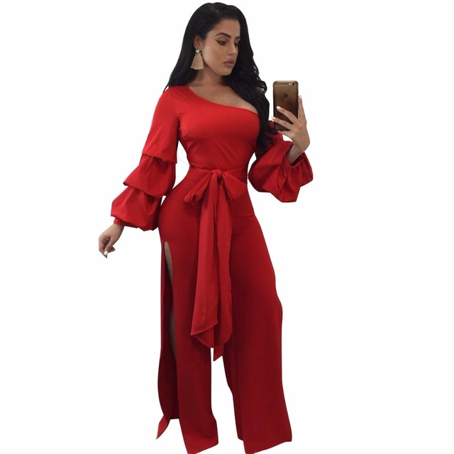 487b6ae57eb Black red Sexy Rompers Wide Leg Jumpsuit 2017 Autumn Women Long Sleeve  Elegant Party Jumpsuit Full bodysuit Bodycon Overalls