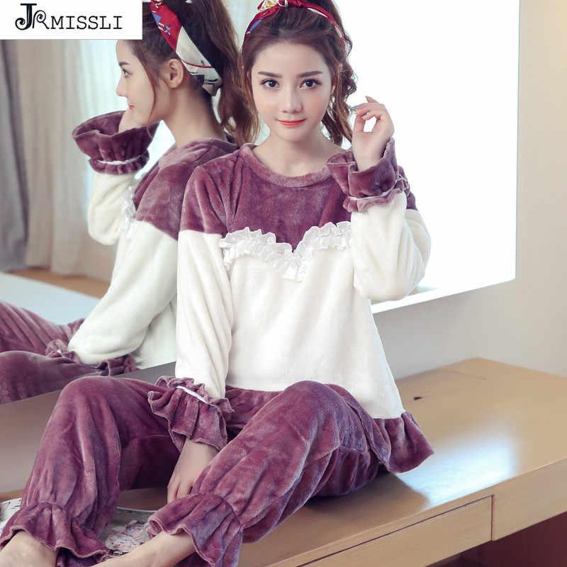 b5dcd18286 JRMISSLI invierno mujer Palacio princesa pijamas conjuntos gruesos cálidos  Coral terciopelo traje Franela manga larga Mujer
