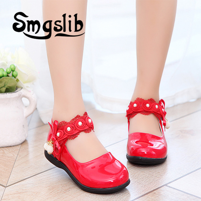 Smgslib Kids Girls Shoes Bowknot Lace Tassel Leather School Girls Dress Shoes Spring Autumn Wedding Party Dress Shoes For Girls