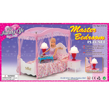 Girl toy doll princess bed with dresser bedroom suite bed nets Accessories case for Barbie doll furniture