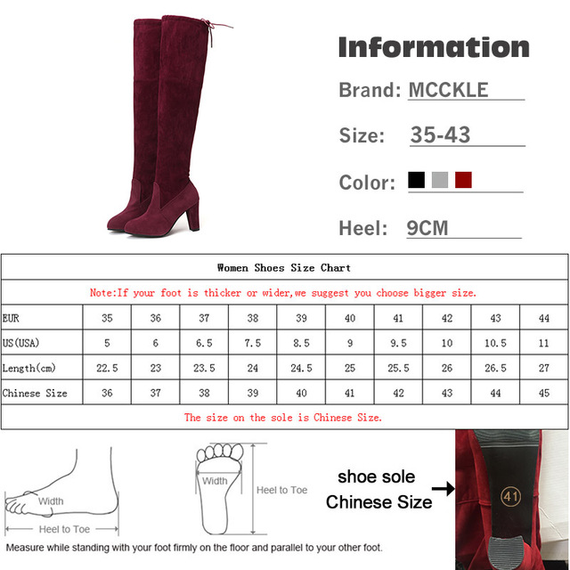 MCCKLE Plus Size Fashion Female Winter Thigh High Boots Faux Suede Leather High Heels Women Over The Knee Shoes Drop shipping