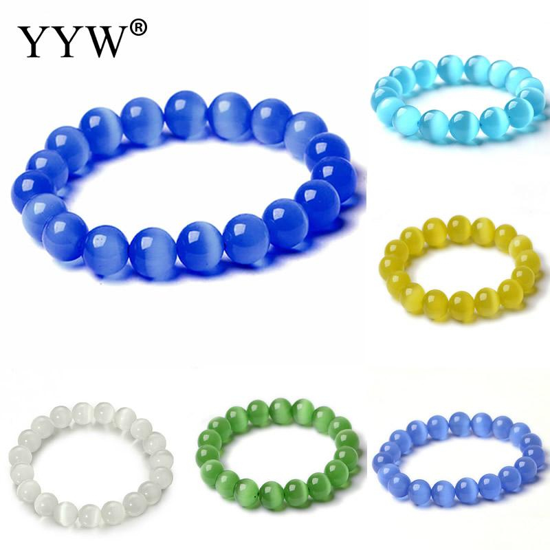 YYW New Hot 6/8/10/12mm Round Cats Eye Stone Bracelets Gift Woman Simple Circle Elastic Opal Stone Bracelets Jewelry