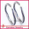 Carraton ESQD2103 Full Mixed Color Cubic Zircionia CZ Diamond Genuine 925 Sterling Silver 5cm Big Hoop Earrings