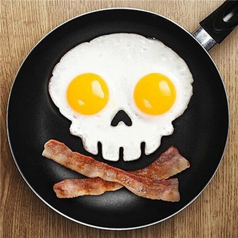 Кухня Кулинария Инструмент, уникальный дизайн силиконовой резины яйцо плесень антипригарным череп яйца жареные жарки Плесень Блин Яйцо Кольцо Shaper плесень