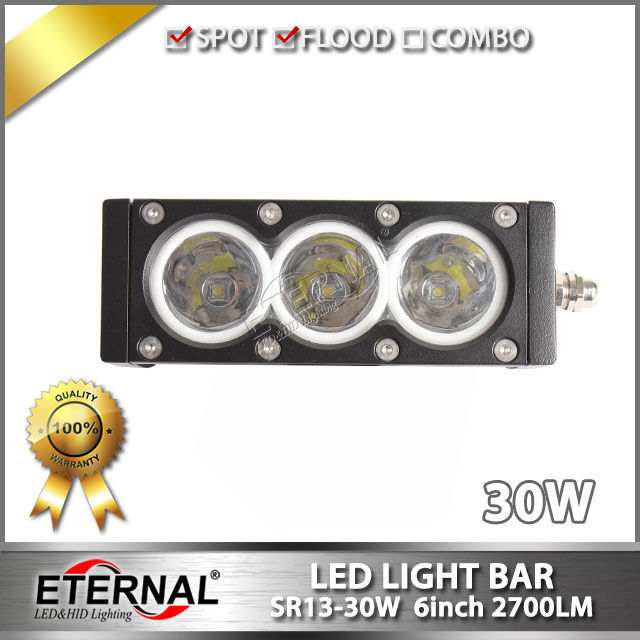 Free shipping 6pcs 30W LED truck headlight car automotive driving spot light bar for offroad 4x4 powersports motorcycle crane