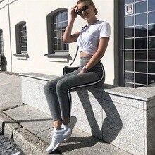 BOOFEENAA Side Stripe Spliced Houndstooth Casual Pants Women Fall 2019 Fashion High Waist Skinny Trousers Streetwear C76-AD35