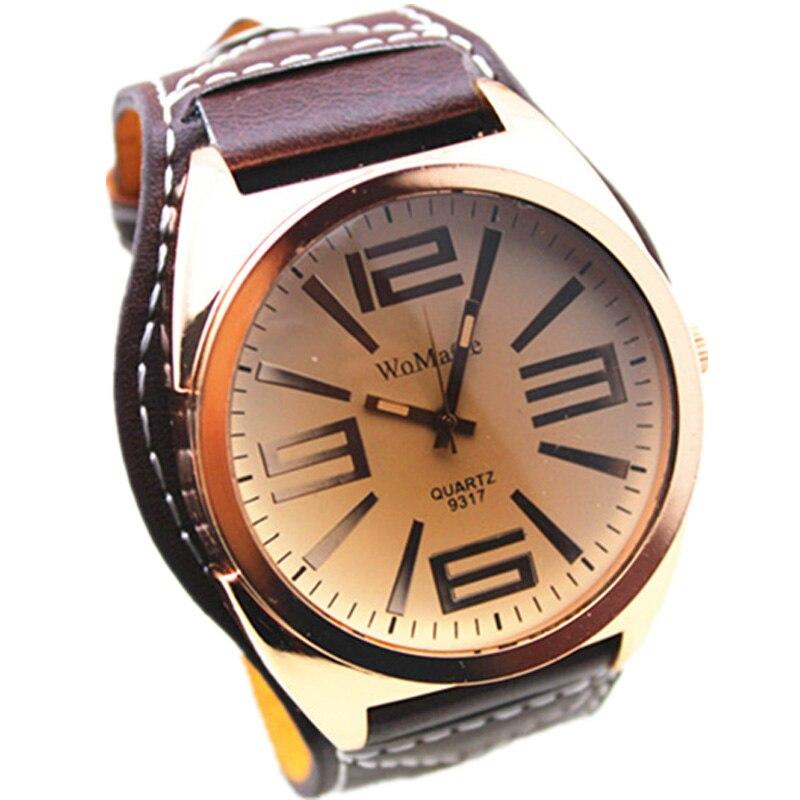 ახალი Unisex რთველი Watch ფართო ტყავის band დიდი Dial Watch ქალთა ბრენდის მოდის სამხედრო სამაჯურის მაჯის საათები ქალთა მამაკაცებისთვის