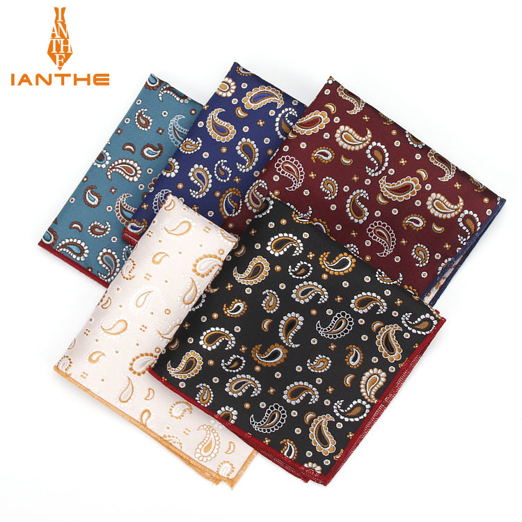 Luxury Vintage Men's Paisley Polyester Silk Hanky Gentleman Groom Pocket Square Handkerchief Paisley Wedding Classic Party Gift