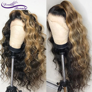 Image 2 - Ombre Highlight Color Lace Front Human Hair Wigs with Baby Hair 13x4 Pre Plucked Hairline Remy Brazilian Wavy Hair dream beauty