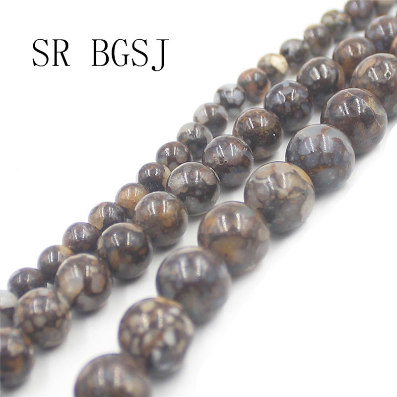 Free Shipping 6mm 8mm 10mm Round Fire Boulder Opal Loose Gems Stone Jewelry Design Beads Strand 15