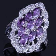 Terrific Oval Purple Cubic Zirconia White CZ 925 Sterling Silver Ring For Women V0594