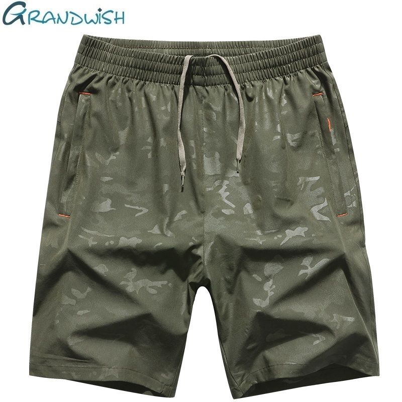 Grandwish Quick Drying Shorts Men Plus Size 6XL 7XL 8XL Mens Camouflage Shorts Elastic Waist Big Size Men's Shorts Camo ,DA596