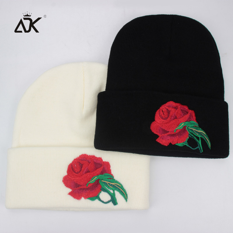 e09d541db353c Embroidery Rose Winter Hats For Men Women Thick Outdoor Beanies Caps For  Boys Cotton Warm Festival Cap Female Beanie-in Skullies   Beanies from  Apparel ...