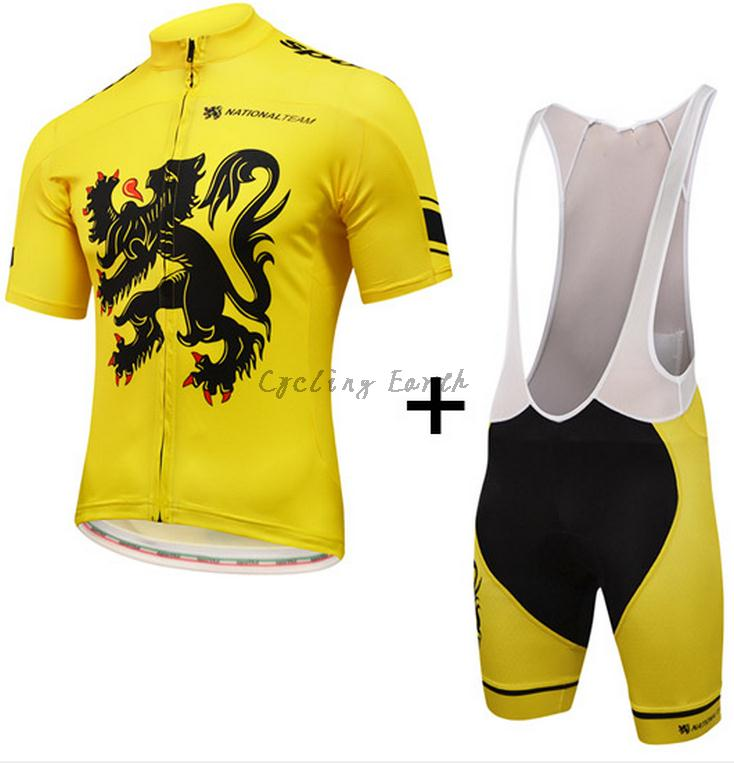 Lion of Flanders National team 2016 short sleeve cycling jersey bib shorts set clothes MTB bike ropa ciclismo maillot gel pad lion check up gel