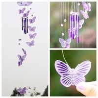 Cristal mariposa viento campana Colgante atrapasueños adorno patio jardín habitación Feng Shui decoración Colgante Campanul