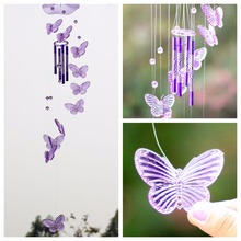 Crystal Butterfly Wind Chime Bell Hanging Dream Ornament Yard Garden Room Feng Shui Decorating Colgante Campanul