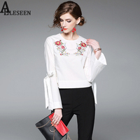 Ladies Fashion Tops New 2017 Autumn Full Flare Sleeve Bow White Plaid Flower Embroidery High Street