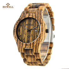 Wooden Mens Watches Week Date Hours Pointer Casual Zebra Wood Band BEWELL Quartz Watch for Male Wristwatches Christmas Gife 086B