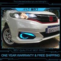 AKD Car DRL for Honda FIT JAZZ GK5 Fog light DRL 2 colors LED Daytime running light signal light turning lamp