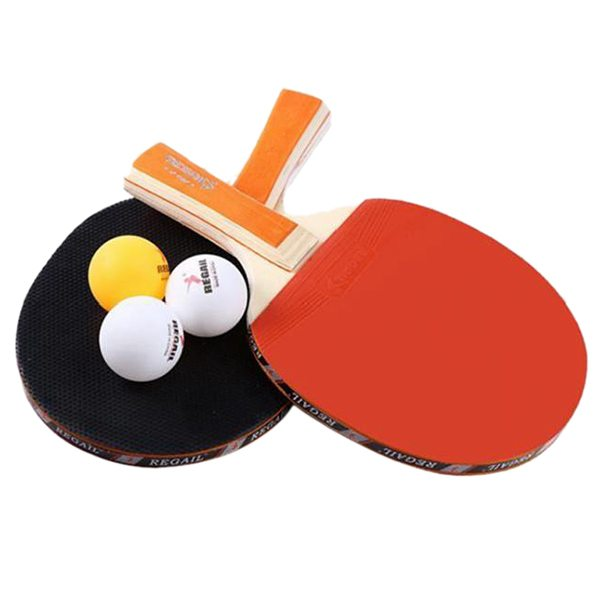Regail Table Tennis Paddle Table Tennis Set - Two Table Tennis Racket And Table Tennis Red + Orange