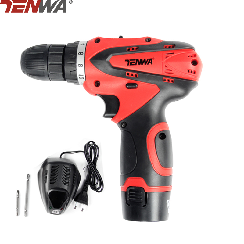 TENWA 12V Electric Drill Sets Cordless Screwdriver 2 Rechargeable Batteries 2 Speed Drill Parafusadeira Furadeira Power Tool Set
