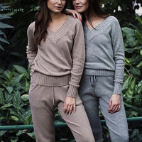 2 piece set women sweater suit sets Knitted Sweaters Pants Tracksuits Woman Casual Knitted Trousers+Jumper Tops Clothing Set