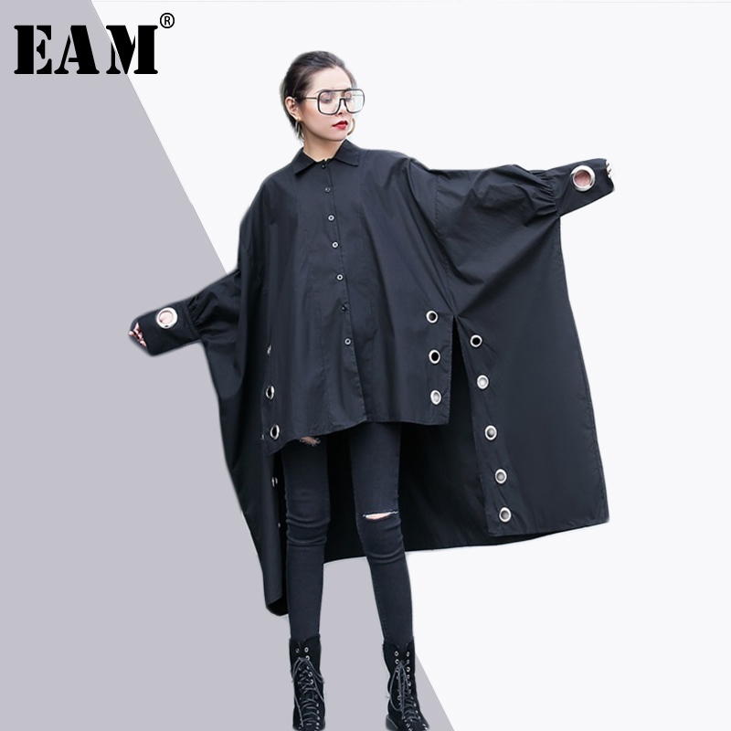 [EAM] 2018 New Autumn Lapel Long Sleeve Black Irregular Metal Ring Split Joint Big Size Shirt Women Blouse Fashion Tide JE43701