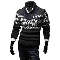 Ugly Christmas Sweater Men Snowflake Cotton Winter Sweater Men V Neck Casual Knit Jumpers Pullovers Homme