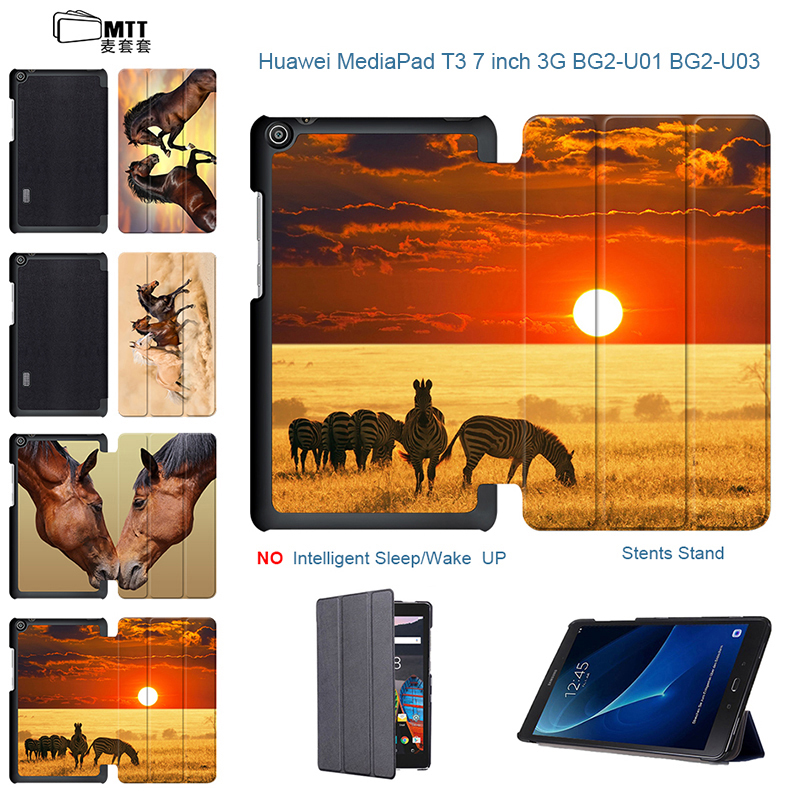 Magnetic TriFold PU Leather Horses Skin For huawei t3 7.0 3g bg2-u01 Case For Huawei MediaPad T3 7 3G BG2-U03 7 inch Tablet emotional healing for horses