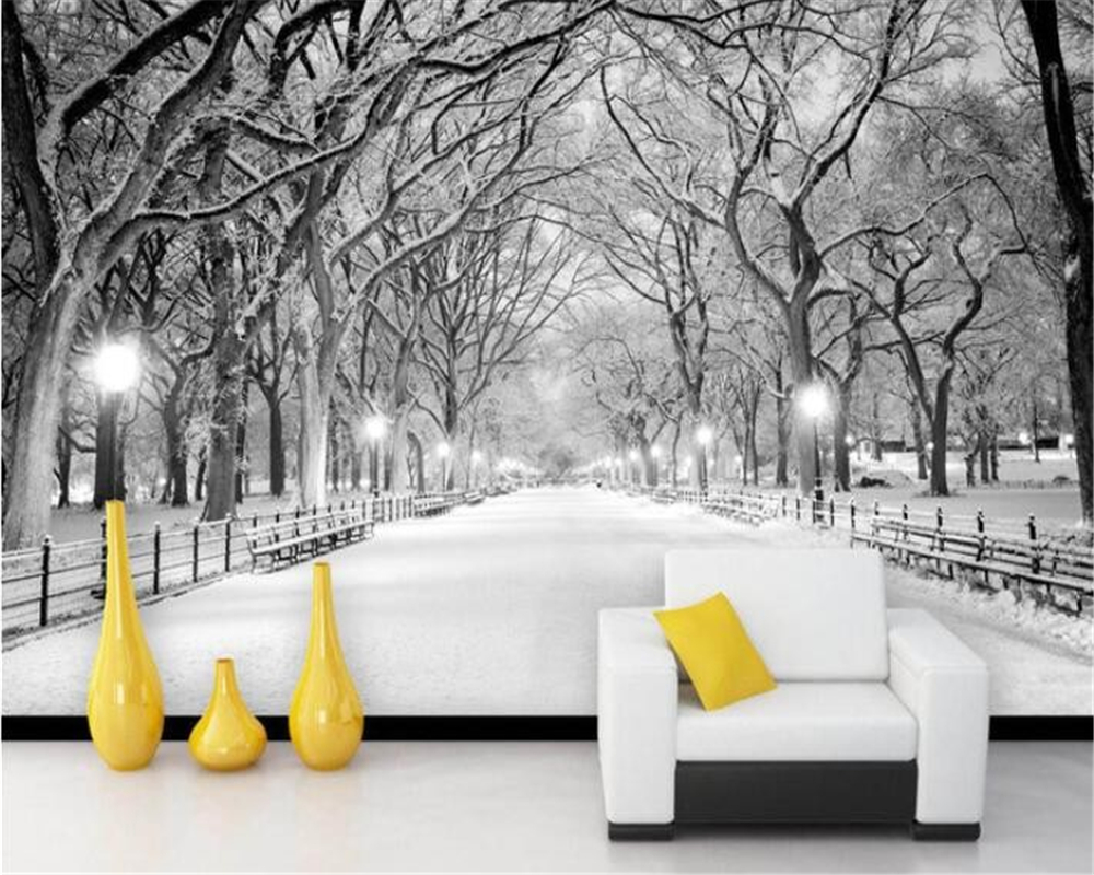 3d wallpaper custom mural wall sticker Black and white wood road snow TV wall painting photo 3d wallpaper tapety beibehang custom baby wallpaper snow white and the seven dwarfs bedroom for the children s room mural backdrop stereoscopic 3d