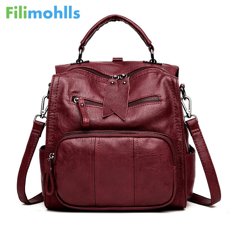 High Quality Women Bag School Bag Backpack Girl Multifunction Women Backpacks Leather Female Travel Shoulder Bag Backpack S1527