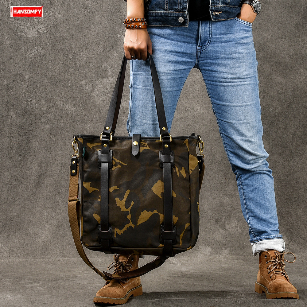 Vintage Oil Wax leather Canvas Mens Shoulder Messenger Tote Bag Camouflage handbag male travel crossbody bagsVintage Oil Wax leather Canvas Mens Shoulder Messenger Tote Bag Camouflage handbag male travel crossbody bags