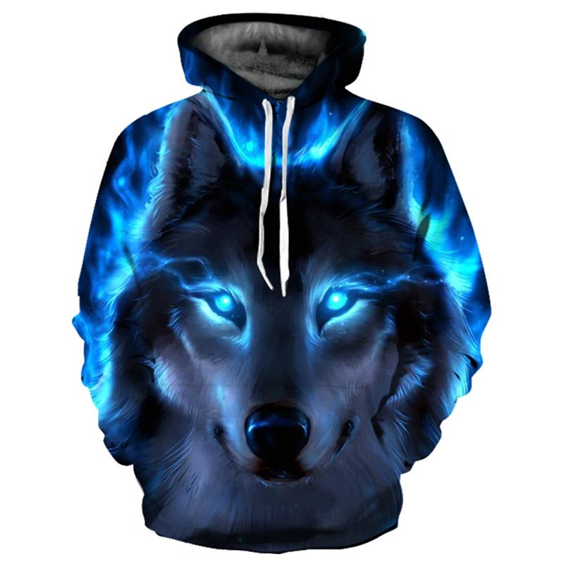 Blue Fire Wolf 3d Hoodies