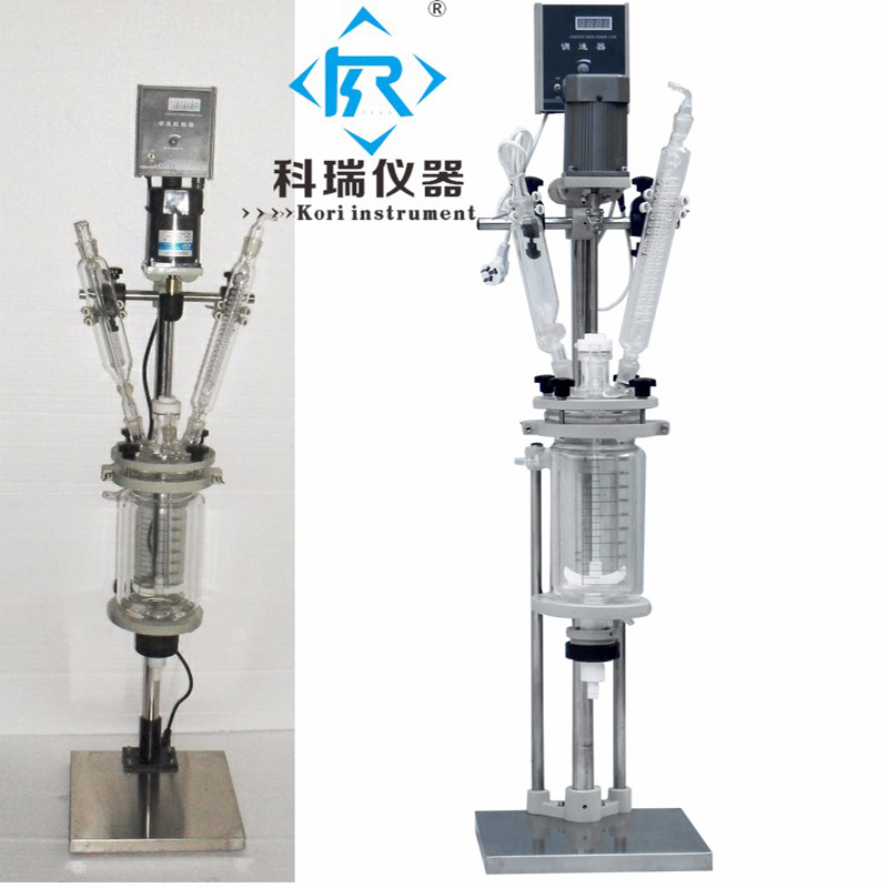 3L Top Quality Pharmaceutical Vacuum Vertical with PTFE Valves Double Glass Reactor 10l batch glass reactor glass lined jacketed reactor vessel for chemicaland pharmaceuticals industry with condenser with ptfe