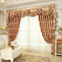 European Luxury Blackout floral Gold windows treatment curtains for living room bedroom with tulle valance