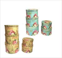 5pcs Set Restore Ancient Round Shape Flower Box Good Gift Packing Box Wedding Party Packing Box