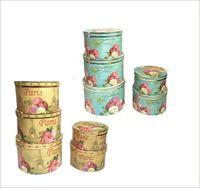 5pcs/set Restore ancient round shape florist packing flower gift box, wedding party decoration favor Christmas coffret boxes