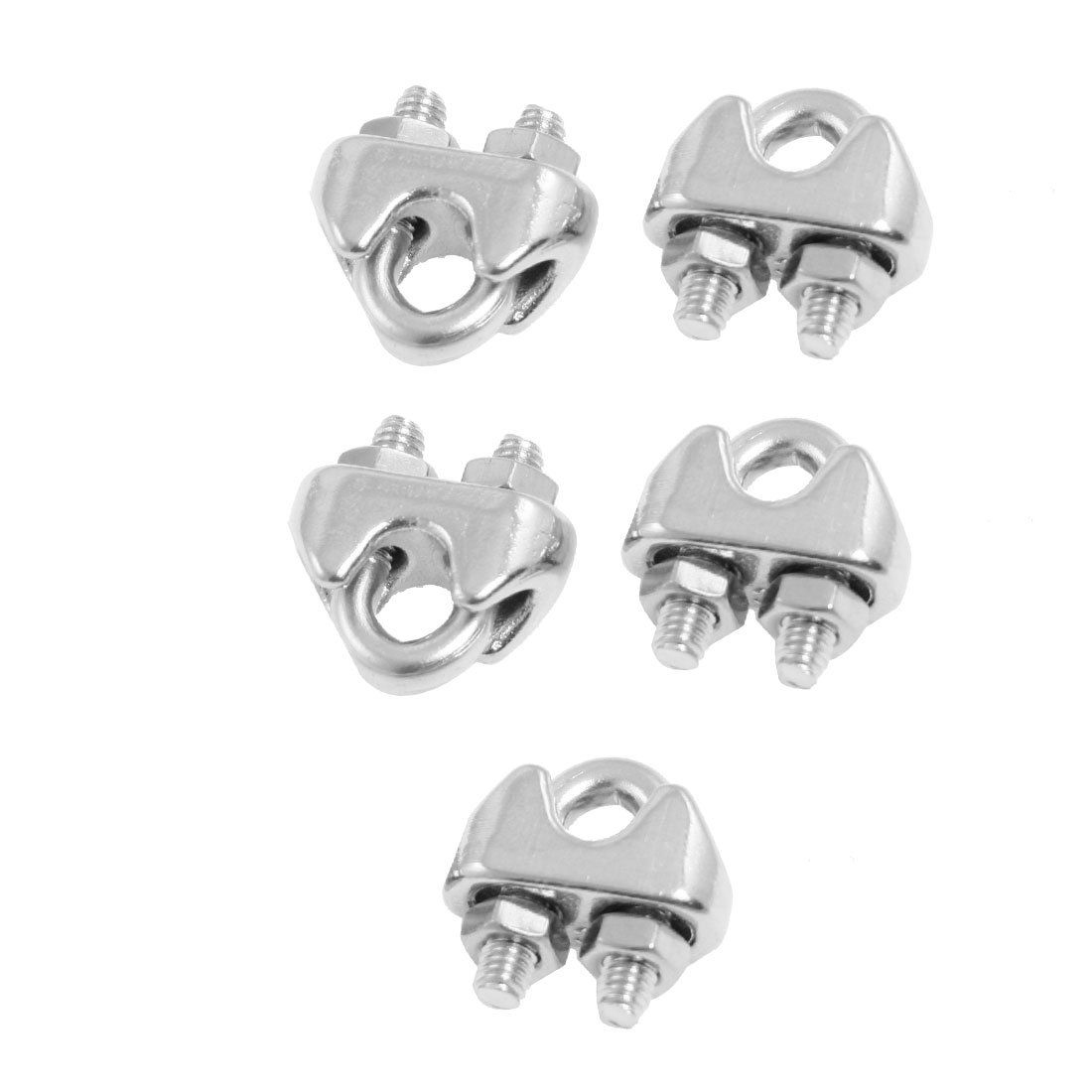 HHTL-5 Pcs 304 Stainless Steel Saddle Clamp Cable Clip for 325 3mm Wire Rope