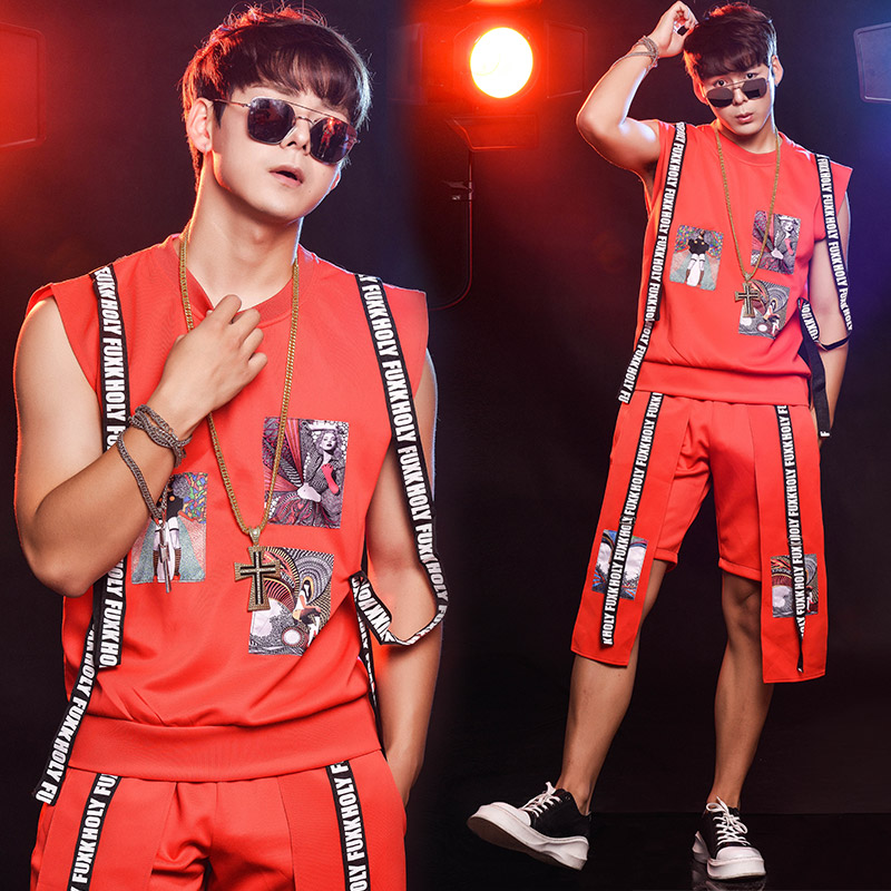 Nightclub bar Singer Dj male Red hiphop jazz dance stage show performance clothing set Party show Men's vest table costume set