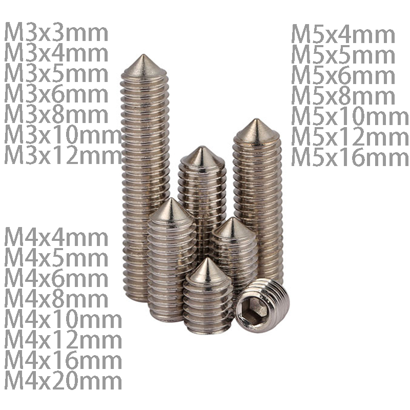 DIN914 M3 M4 M5 Stainless Steel Allen Head Hex Socket Grub Screw Bolts Nuts Fasteners with Cone Point Screws 20pcs metric m12 304 stainless steel hex head dome cap protection cover nuts fasteners